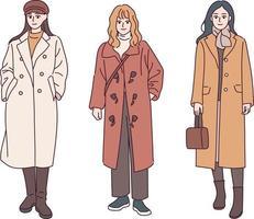 una mujer con un abrigo casual. ilustraciones de diseño de vectores de estilo dibujado a mano.
