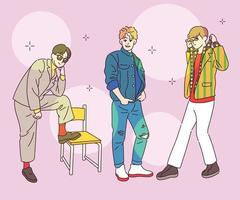 Men are dressed up in retro fashion. hand drawn style vector design illustrations.
