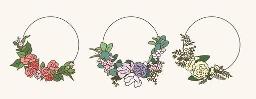 Flower wreath. hand drawn style vector design illustrations.