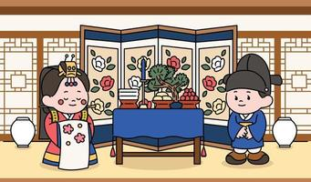 Bride and groom characters celebrating a traditional Korean wedding ceremony. hand drawn style vector design illustrations.