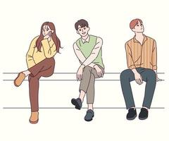 Young people are sitting on the street. hand drawn style vector design illustrations.