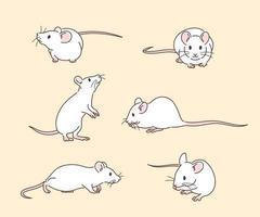 animales de rata blanca. ilustraciones de diseño de vectores de estilo dibujado a mano.