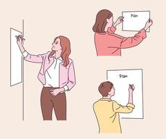People sticking boards to the wall and writing. hand drawn style vector design illustrations.