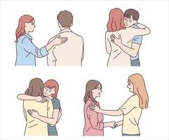 People who hug and comfort a friend in grief. hand drawn style vector design illustrations.