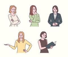 Women of various gestures. hand drawn style vector design illustrations.