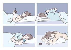People lying in bed and watching mobile phones. hand drawn style vector design illustrations.