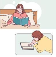 People reading books in a comfortable position. hand drawn style vector design illustrations.