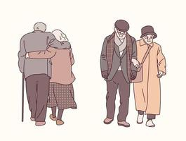 An elderly couple walking together. hand drawn style vector design illustrations.