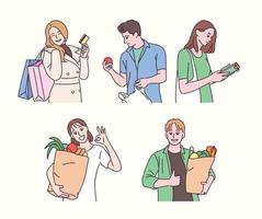 Shopping character. hand drawn style vector design illustrations.