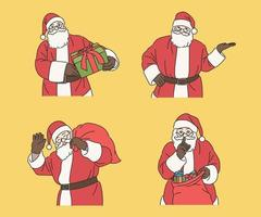 Santa Claus is in various poses. hand drawn style vector design illustrations.