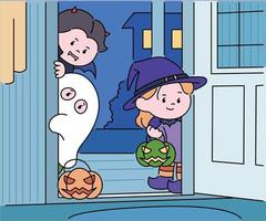 Children in Halloween costumes are standing outside the door and looking into the house. hand drawn style vector design illustrations.