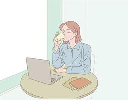A woman is sitting with a laptop in a cafe and drinking coffee. hand drawn style vector design illustrations.