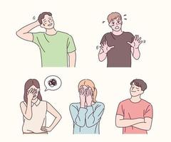 People with embarrassing expressions. hand drawn style vector design illustrations.
