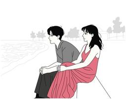 The man and the woman sit quietly by the seaside. hand drawn style vector design illustrations.