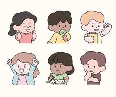 Cute characters are making various gestures. hand drawn style vector design illustrations.