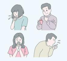 People with colds are coughing and sneezing. hand drawn style vector design illustrations.
