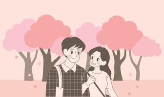 una pareja camina por las calles de los cerezos en flor. ilustraciones de diseño de vectores de estilo dibujado a mano.