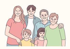foto de familia feliz. ilustraciones de diseño de vectores de estilo dibujado a mano.