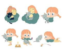 The girls are hugging the cat. hand drawn style vector design illustrations.