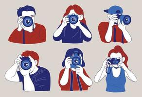 People holding cameras and taking pictures. hand drawn style vector design illustrations.