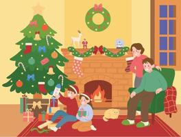 las familias navideñas están sentadas frente a la chimenea y los niños desempacan regalos. ilustraciones de diseño de vectores de estilo dibujado a mano.