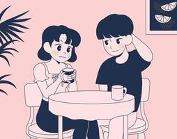 A couple of men and women sit in a cafe with shy expressions. hand drawn style vector design illustrations.