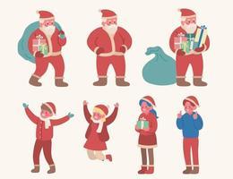santa claus y personajes de niños lindos. ilustraciones de diseño de vectores de estilo dibujado a mano.