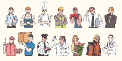 Characters in uniforms by profession. hand drawn style vector design illustrations.
