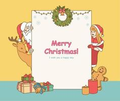 Behind the Christmas card are Santa, a girl, and a reindeer pointing out their heads. hand drawn style vector design illustrations.