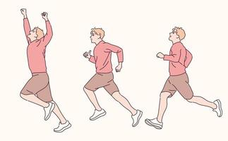Three-step poses for men who run. hand drawn style vector design illustrations.