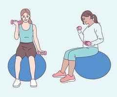 las mujeres hacen ejercicio sentadas en pelotas de gimnasia con pequeñas mancuernas en las manos. ilustraciones de diseño de vectores de estilo dibujado a mano.