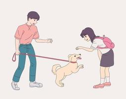 The boy is walking with the dog. The dog is glad to see a girl. hand drawn style vector design illustrations.