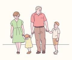 Grandfather and grandmother are walking by holding the hands of their grandchildren and granddaughter. hand drawn style vector design illustrations.