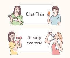 personajes femeninos haciendo un plan de dieta. ilustraciones de diseño de vectores de estilo dibujado a mano.