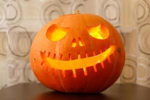 Halloween pumpkin head jack lantern photo
