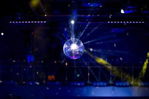 Blue disco background with mirror ball