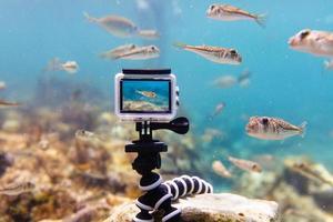 usando la cámara de acción en una caja impermeable para hacer fotos y videos bajo el agua
