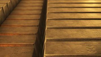 Pure gold ingot stacks photo
