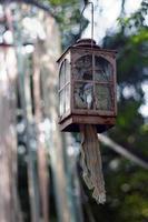 Rusty lantern with pastel ribbons photo