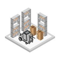 Isometric Warehouse Room vector