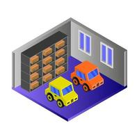Isometric Garage On Background vector