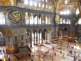 Interior of Hagia Sophia inside. Top view from the balcony. Ancient temple in Istanbul. Turkey. photo