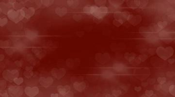Resumen de San Valentín con forma de corazón bokeh sobre un fondo rojo. foto