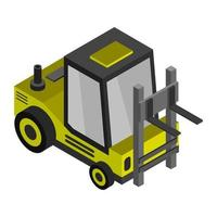 Isometric Forklift On Background vector