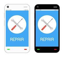 repair logo on  smartphone screen vector