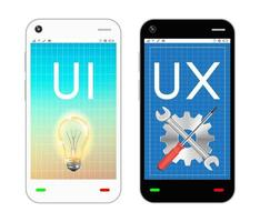 smartphone with ui and ux design on screen vector