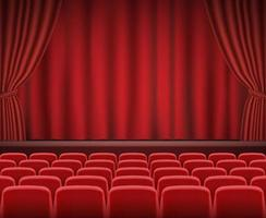 Rows of red cinema or theater seats in front of show stage vector