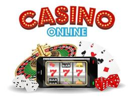 casino online smartphone with dice and roulette vector