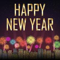 Happy new year with fireworks on city background vector