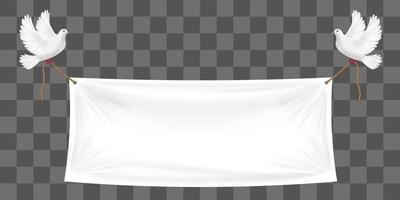 vinyl banners backdrop with white doves and ropes vector